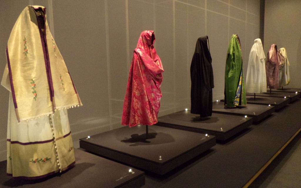 Examples of coverings worn by women from different regions.